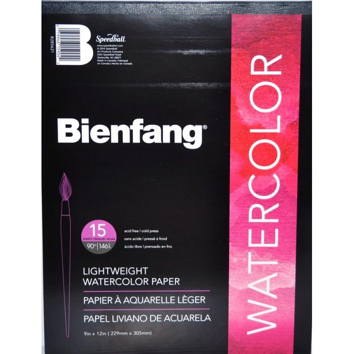 """Bienfang, Tablette Papier Aquarelle 90lbs,  9"""" x 12"""" 15 feuilles BR285-621"""