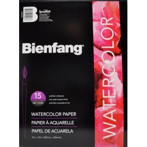 """Bienfang, Tablette Papier Aquarelle 140lbs,  9"""" x 12 15 feuilles par tablette BR285-421"""