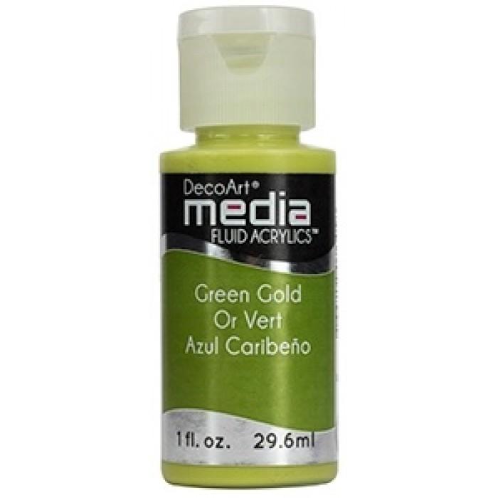 Acryliques Fluides DecoArt Media 1oz Or Vert S4 DMFA014