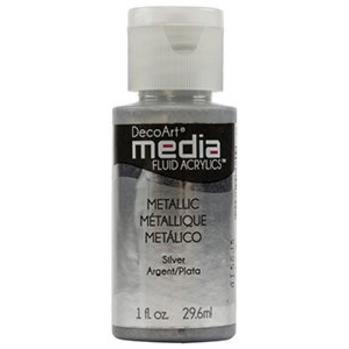 Acryliques Fluides DecoArt Media 1oz Argent Métallique S3 DMFA048