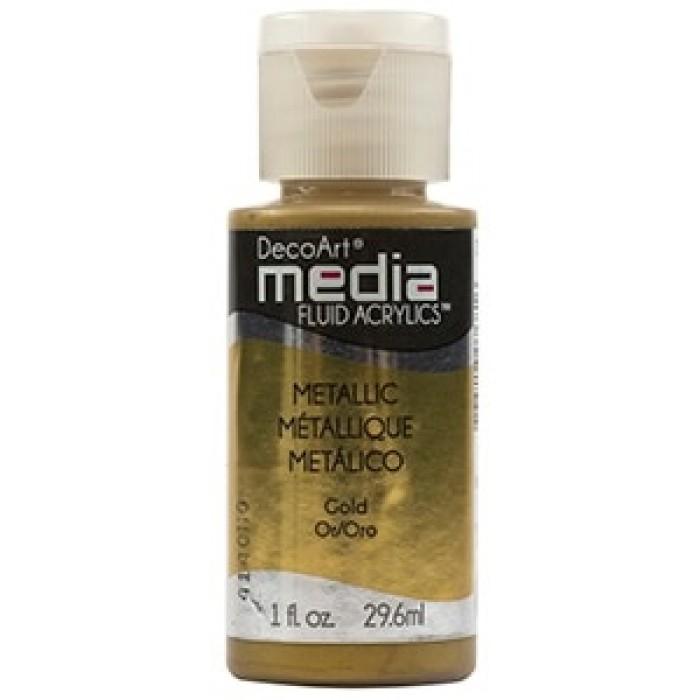 Acryliques Fluides DecoArt Media 1oz Or Métallique S3 DMFA049