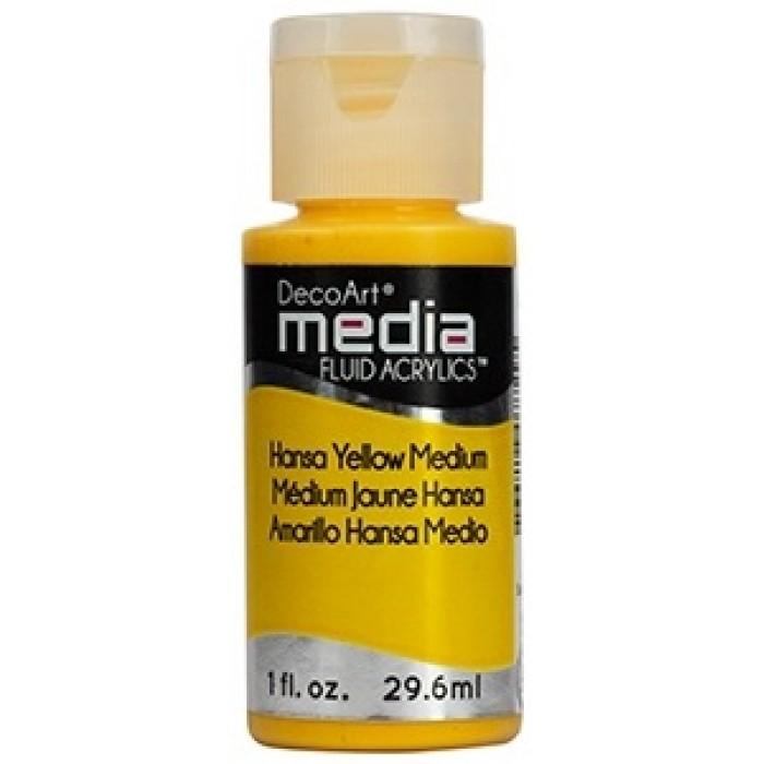 Acryliques Fluides DecoArt Media 1oz Medium Jaune Hansa S2 DMFA050