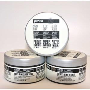 Pébéo, Savon noir à l'huile d'olive pour les pinceaux, pot de  200g #801250