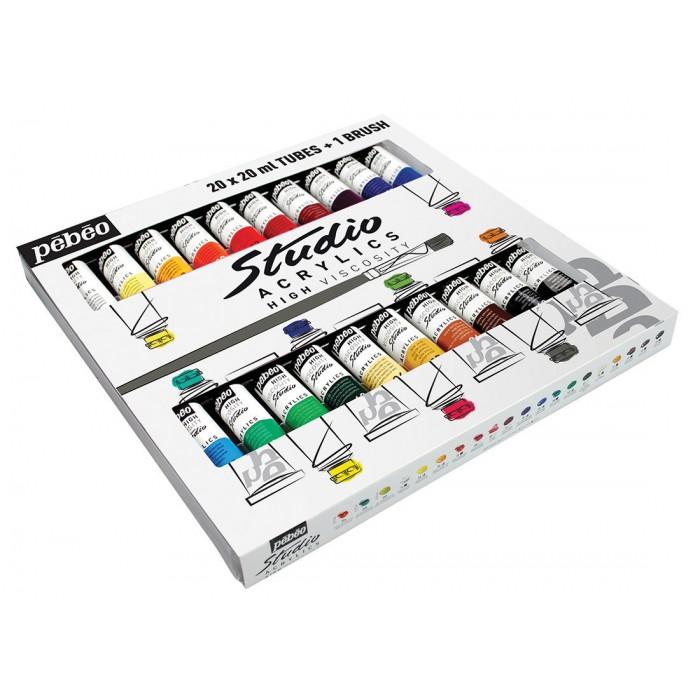 Pébéo, Étui Studio Acrylics 20 tubes 20ml assorties #833421